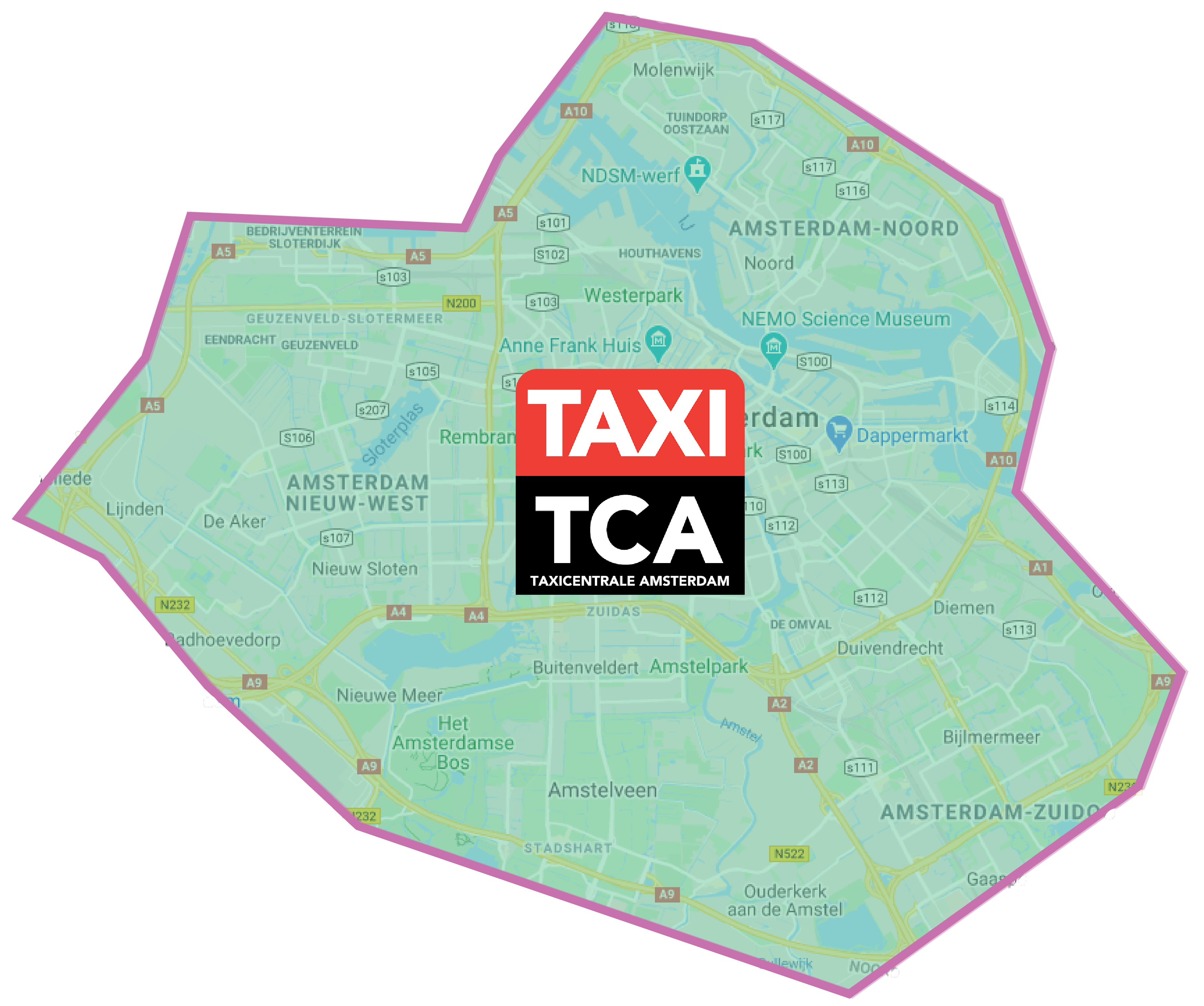 Taxi Centrale Amsterdam leveringsgebied