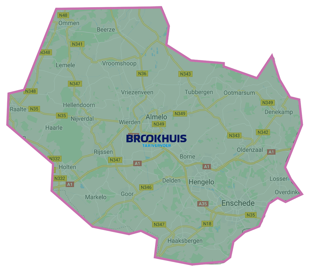 Bezorggebied Brookhuis Taxi