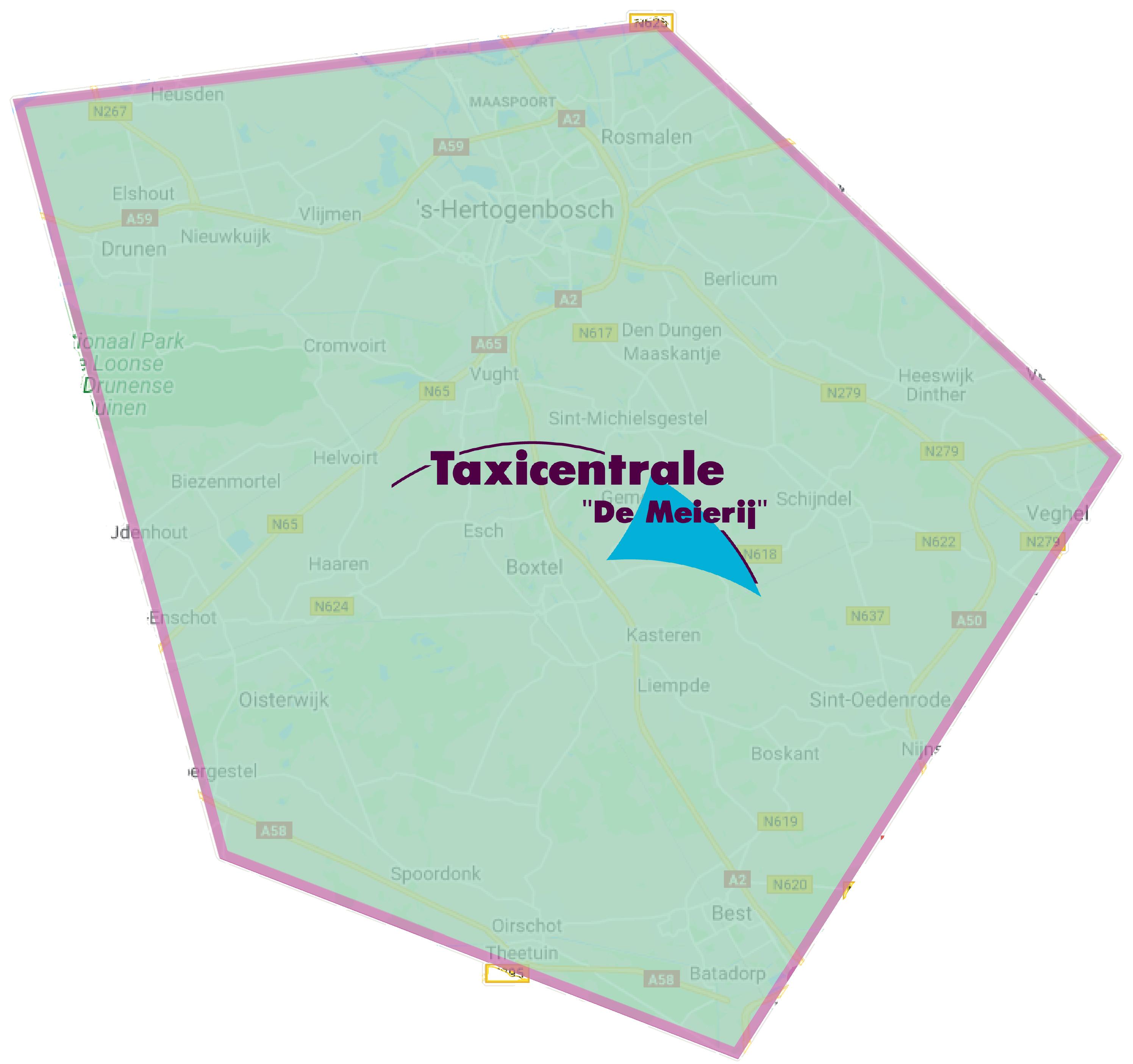 Bezorggebied Taxicentral de Meijerij